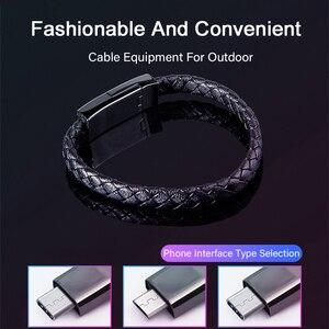Image 5 - עור צמיד USB טלפון מטען כבל מיקרו USB סוג C נתונים סנכרון קצר Kable מהיר טעינה עבור Xiaomi סמסונג S10 תשלום חוט