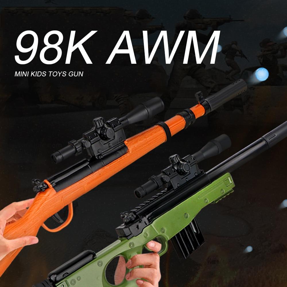 Kids Plastic Toys Gun For Children 98K AWM Rifle 40cm Water Paintball Bullets Gun Boys Sniper Manual Loading Cool Shooting Gun