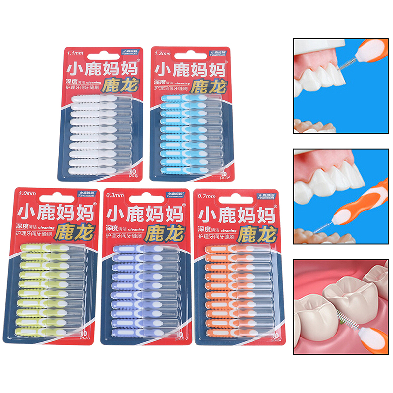 10pcs Interdental Brush Cleaning Dental Brushes Floss Pick Push-pull Toothpick For Adults Clean Between Teeth Cleaning Brushes