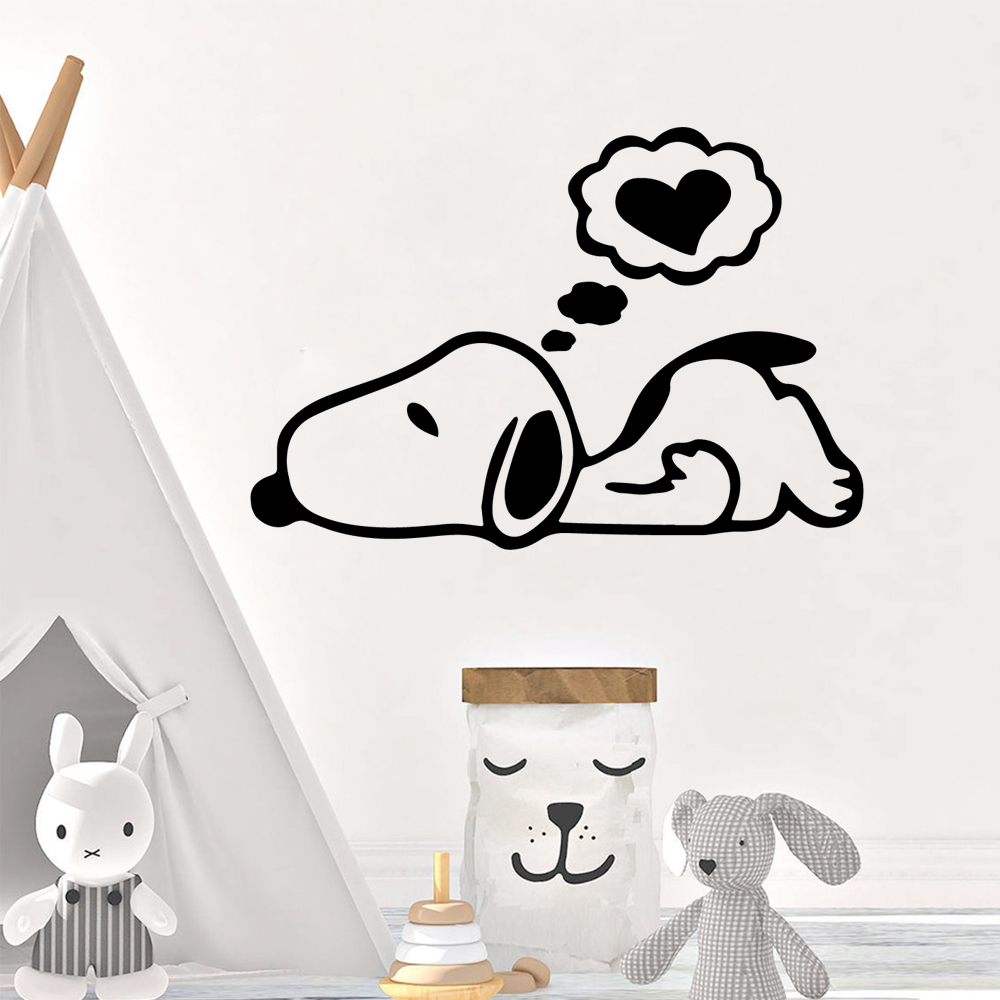 Cartoon Sleeping Dog Cute Wall Sticker Decor For Kids Room Bedroom Decoration Decal Stickers Mural Wallpaper Lw503 Wall Stickers Aliexpress