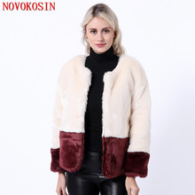 SC338 S-3XL 2019 Office Lady 2 Color Patchwork Outwear Autumn Thick Warm Cardigan Women Faux Rabbit Fur Long Sleeves Short Coat