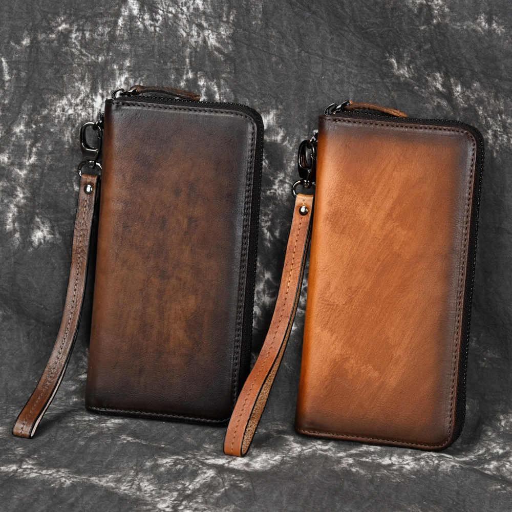 Go-luck marca de couro genuíno wristlet embraiagens carteiras homens id de crédito caso de cartão de visita bolsa de telefone celular feminino unisex