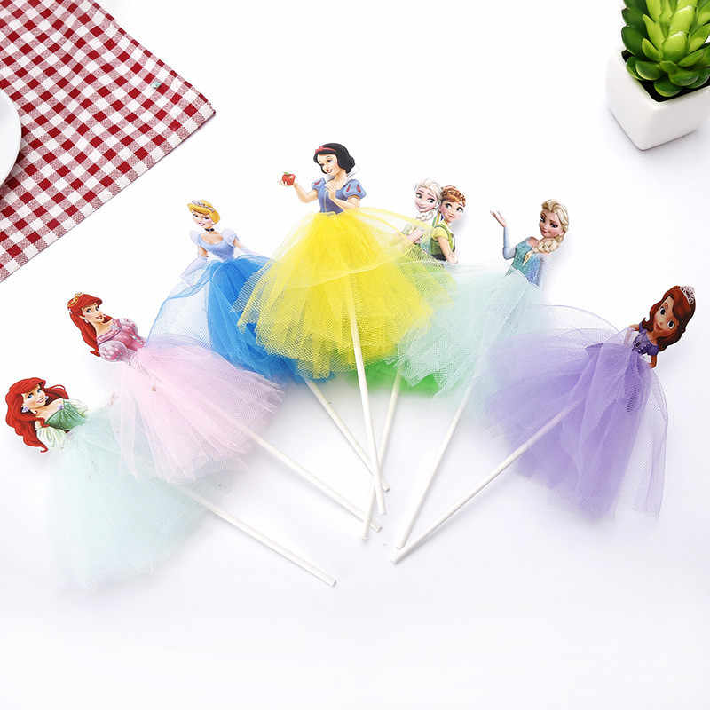 1 pz Cartoon Princess Birthday Party Decoration Kid Cupcake Cake Topper per ragazze Happy Birthday Party Baby Shower Cake Supplies