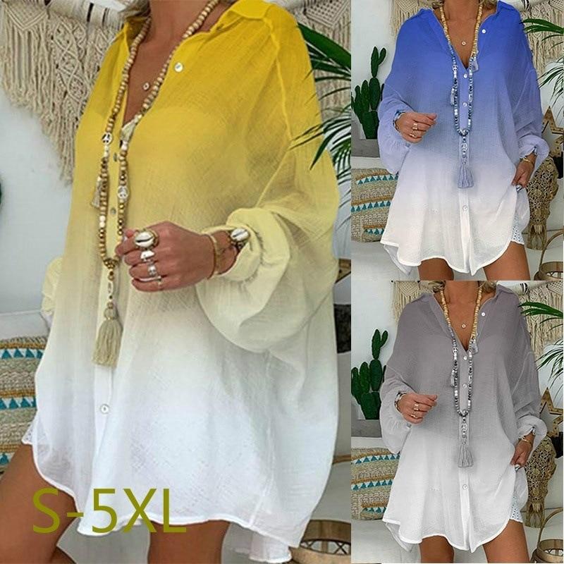 Plus Size linen Shirt Women Button Down Shirt for Women Long Sleeve Loose  print cotton Blouse Tops Korean womens clothing|Blouses & Shirts| -  AliExpress