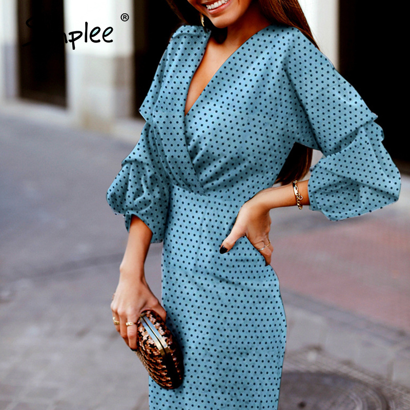Simplee Elegant Polka Dot Women Dress V-neck Lantern Sleeve Female Party Dresses Vintage High Waist Ladies Midi Dresses Vestidos