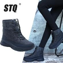 STQ Women Plush Ankle Boots Warm Snow Boots Shoes Ladies Winter Sneakers Boots Comfortable Shoes Women Wedges Black Boots 930