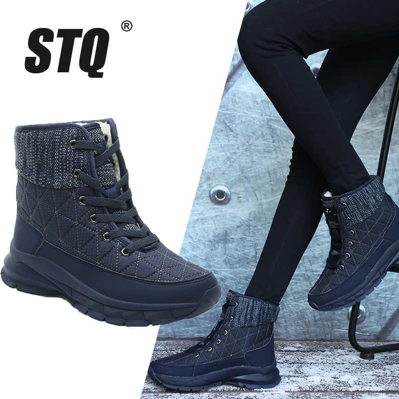 STQ kadın peluş yarım çizmeler sıcak kar botları ayakkabı bayanlar kış ayakkabı botları rahat ayakkabılar kadın takozlar siyah çizmeler 930