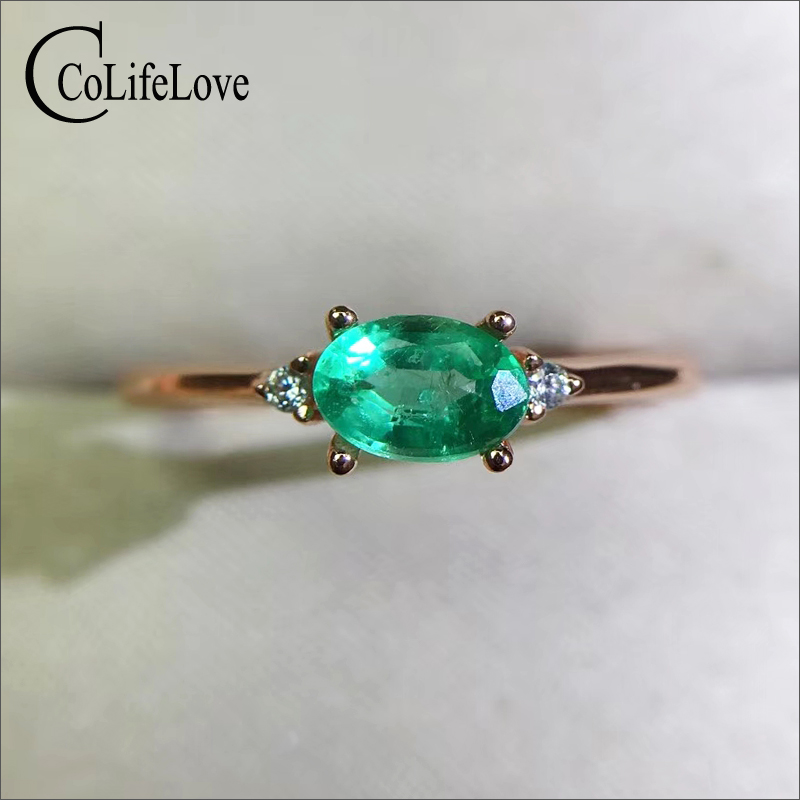 CoLife Jewelry 925 Silver Gemstone Ring For Engagement 4*6mm Real Natural Emerald Ring Genuine Silver Emerald Jewelry