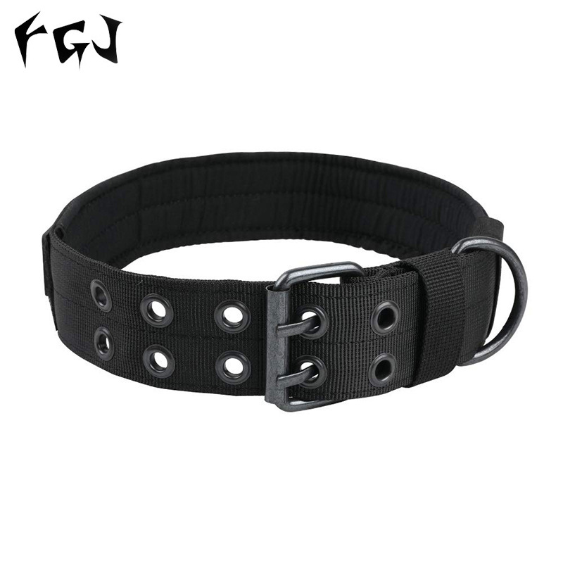 Nylon Wear-Resistant Dog Traction Neck Ring Outdoor Tactical Training Dog Neck Ring Tactical Dog Leash Camouflage Dog Collar