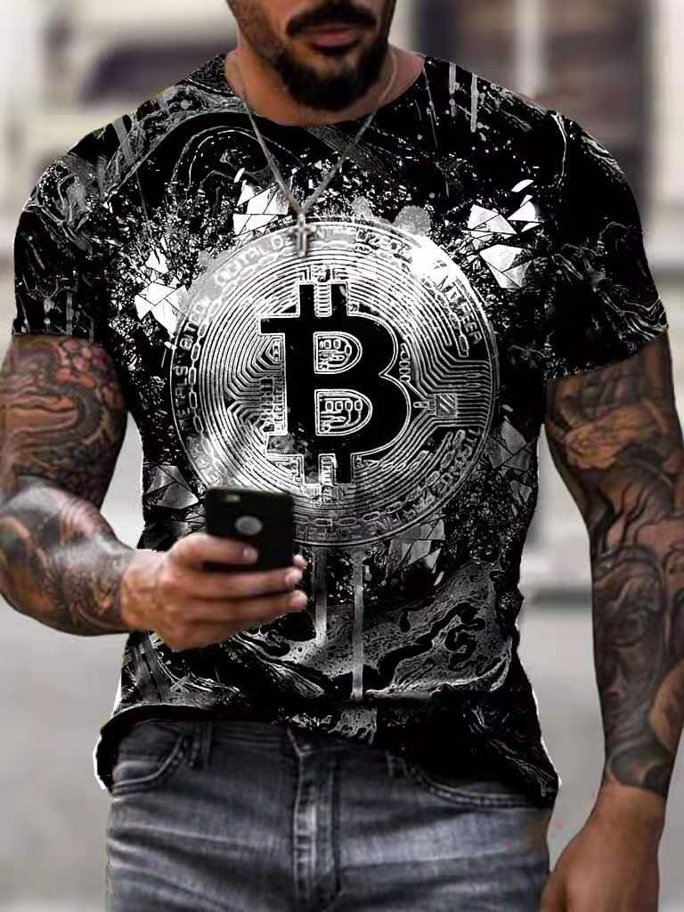Bitcoin 3d Print T Shirt Men Casual Sports Breathable T-shirt Summer Streetwear Outdoor Fitness Tees Loose Short Sleeve 2021 1