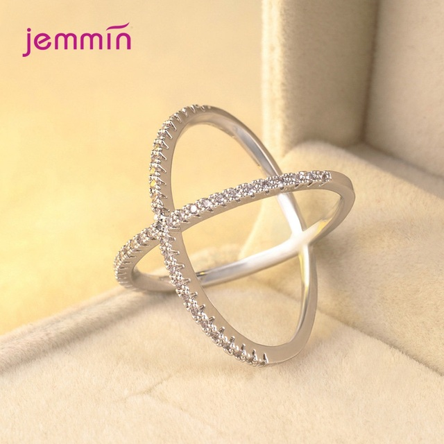 S925 Silver Jewelry X Crossing Finger Ring  Female Fashion Micro Paved CZ Crystal Rings Infinity Sign Women Silver Rings Party 5