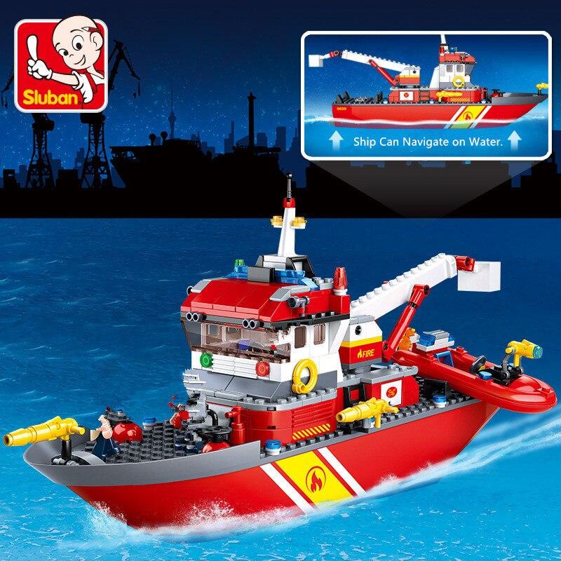 Купить с кэшбэком 429Pcs City Fire Police Sea Rescue Boat Ship Model Building Blocks Sets Creator Technic Brinquedos Bricks Educational Kids Toys