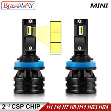 Luces Led BraveWay H7 16000LM 6500K H4 lámpara LED faro para coche H1 H8 H9 H111 HB3 HB4 bombillas LED Turbo 12V motocicleta(China)
