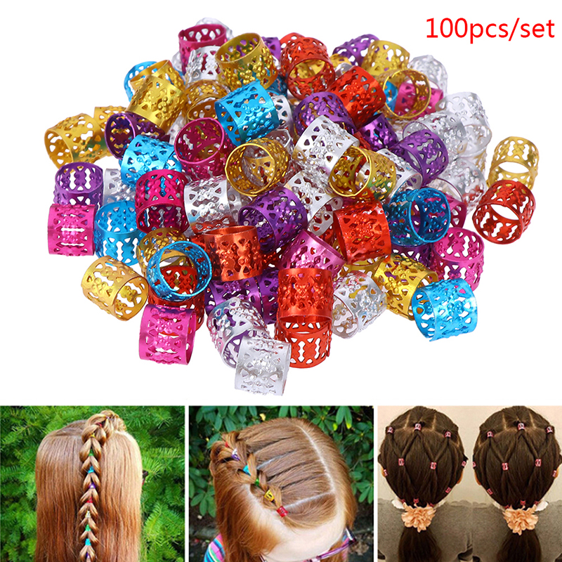 100pcs Adjustable Hair Braids Dreadlock Beads 6 Colors Mixed Beads Hair Braid Rings Cuff Clips Tubes Jewelry