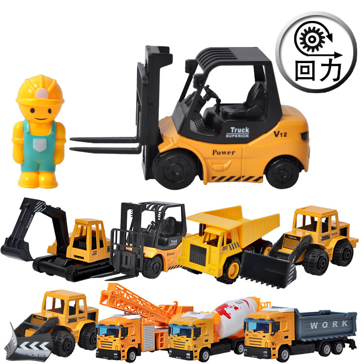 Pull back alloy engineering car toy baby boy forklift excavator mixer truck crane forklift 2-3-6 years old W16 image