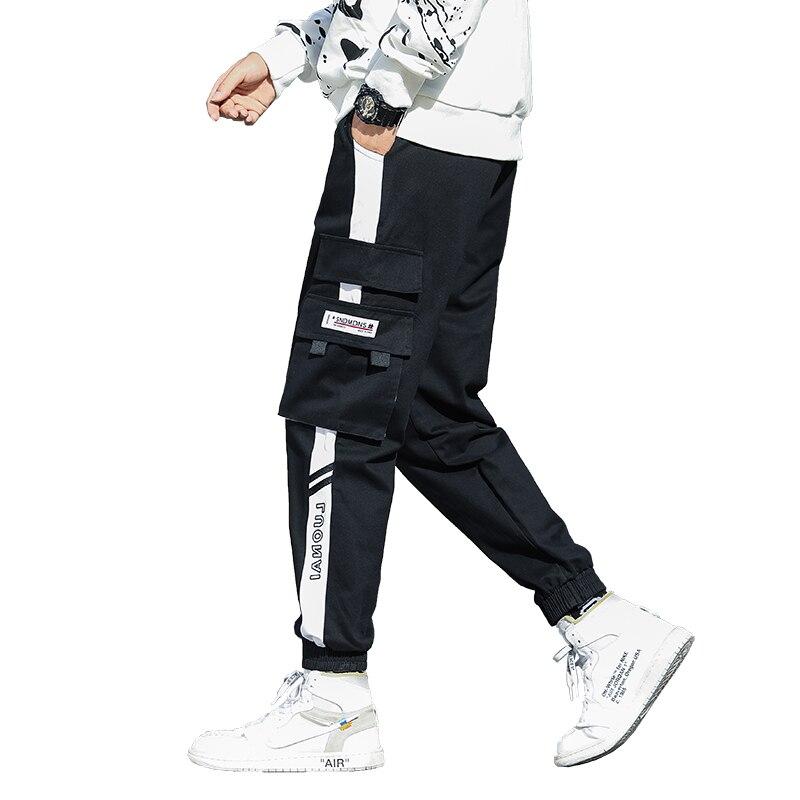 Брюки-карго мужские с большими карманами, уличная одежда, штаны для отдыха и бега в стиле хип-хоп, мужские спортивные штаны высокого качеств...