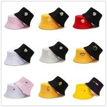 Summer Hats for Women Bob Two-side Unisex Embroidery Bucket Hat Fishing Outdoor Cap Men Sunscreen Hats Fisherman Chapeau Femme