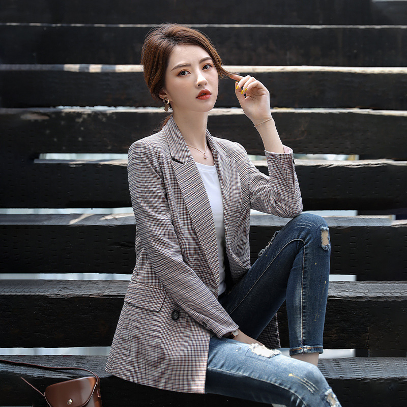 Suit Jacket Female New Double-breasted Plaid Loose Women's Suit Medium And Long Temperament Business Office Top Winter Jackets