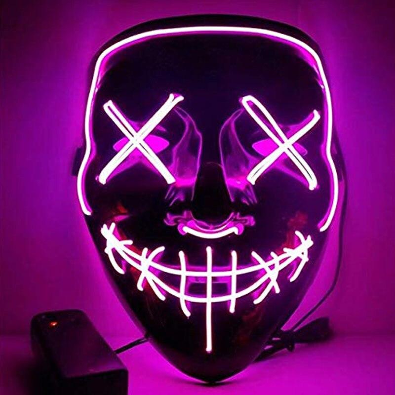 Светодиодная маска для Хэллоуина, вечерние маскарадные маски для маскарада, неоновый маскарадный светящийся светильник в темноте, тушь для ресниц, маска ужаса, светящаяся маска|Игровые наборы для девочек|   | АлиЭкспресс