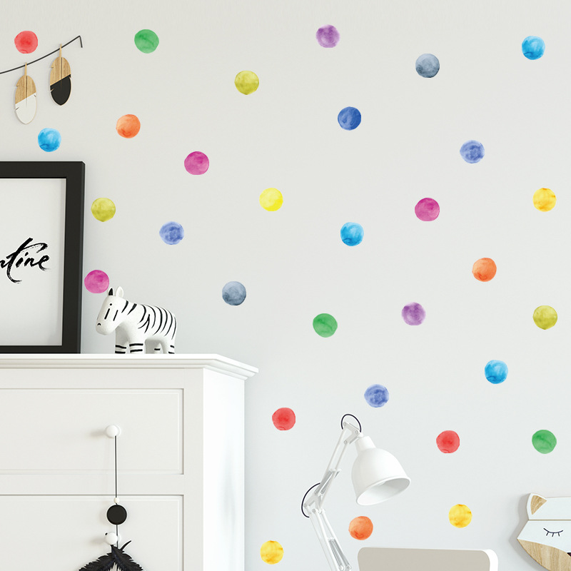 Multicolor dots wall sticker living room kids baby rooms decorations mural nursery art decals home dot stickers DIY wallpaper