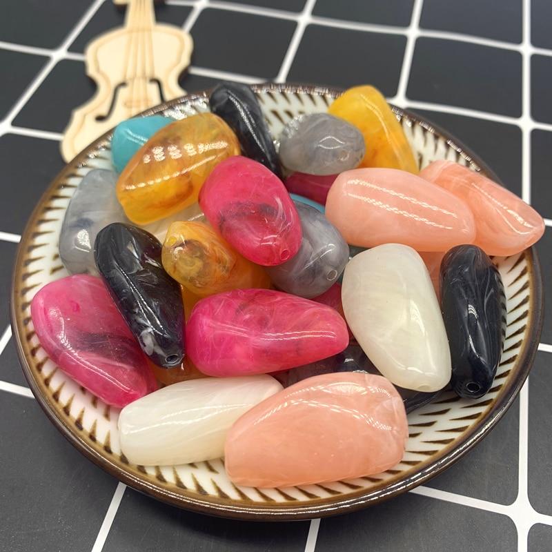 Wholesale 5pcs 15x28mm Cobblestone Shape Beads Imitation Stone Beads For Jewelry Making Bracelet Pendant DIY