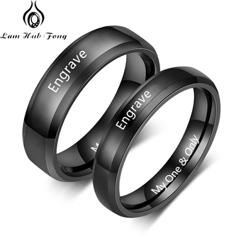 Custom Couple Rings for Lovers Personalized Promise Rings Engraved Name Ring Engagement Jewelry for Women Men (Lam Hub Fong)