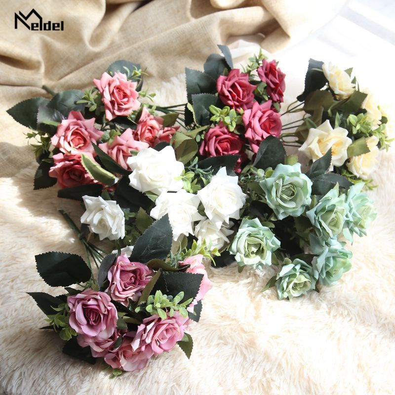 1 Bouquet 7 Heads Artificial Flower Roses Silk Fake Flower Bridal Bouquet For Wedding Festival Party Home Desk DIY Decor Flowers