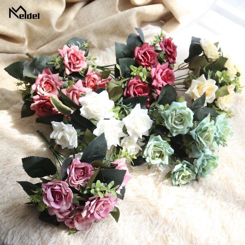 1 Bouquet 7 Heads Artificial Flower Roses Silk Fake Flower Bridal Bouquet For Wedding Festival Party Home Desk DIY Decor Flowers