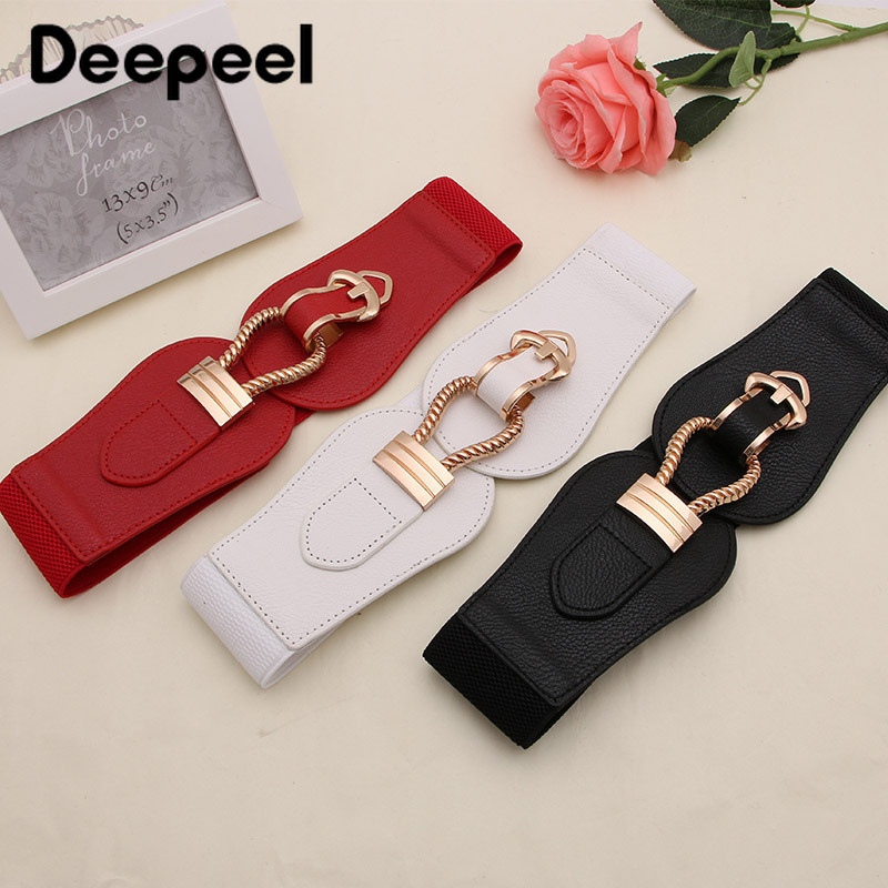 Deepeel 1pc 6cm*60-80cm Women's Metal Horseshoe Buckle Cummerbund Wide Waist Elastic Waistband Leather Accessories Girdle YK742