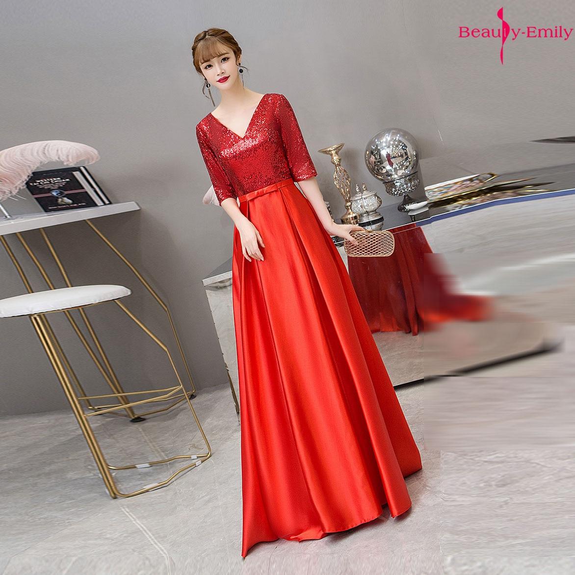 Beauty-Emily col en V 2019 paillettes robe de soirée longue rouge demi manches Satin robe formelle robes de soirée à lacets dos Vestido de noche