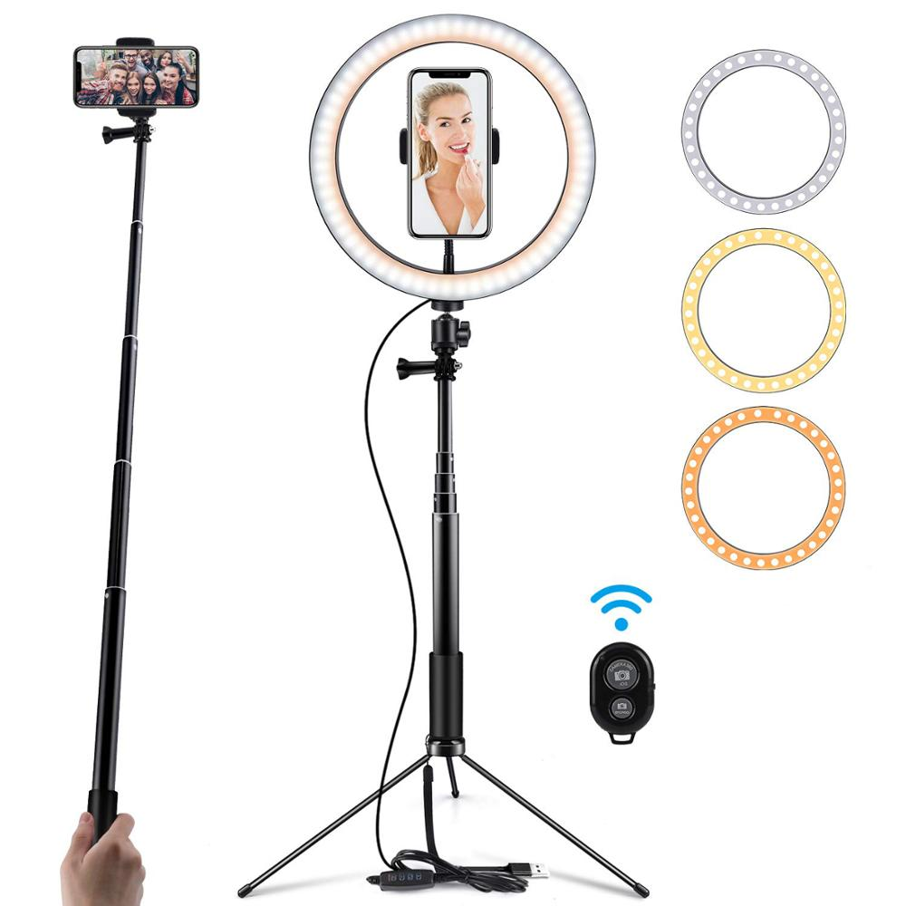 Zayex Photography Table LED Light Tripod Ring Lamp Youtube Video  3300-5600k Photo Studio Selfie Stick Makeup Light For Phone