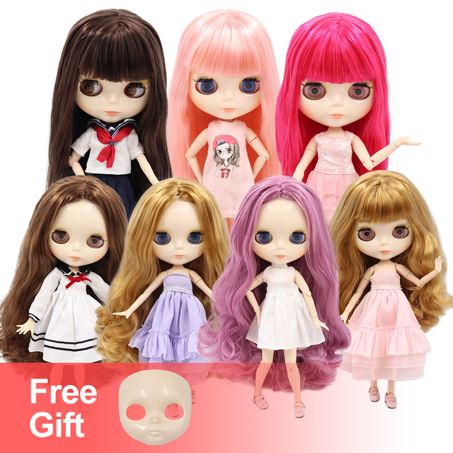 ICY factory Blyth Doll Joint Body DIY BJD ICY toys shiny face white skin Fashion Dolls faceplate gift