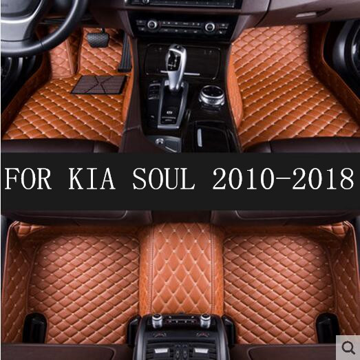 Car Custom Foot Mats 3D Luxury Leather Car Floor Mats Fits For KIA SOUL 2010 2011 2012 2013 2014 2015 2016 2017 2018