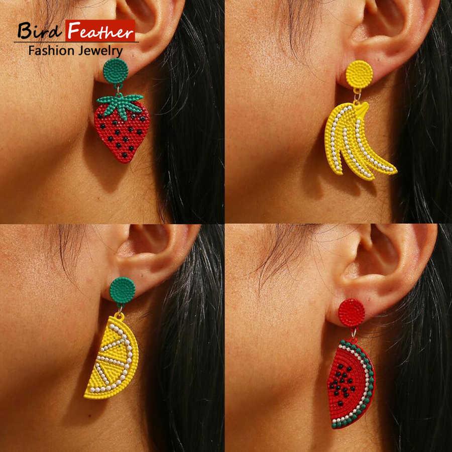 อินเทรนด์หลายสีเรขาคณิตน่ารักผลไม้ทอผ้าต่างหูผู้หญิงเลดี้แฟชั่นขนาดใหญ่ drop ต่างหูชุดเครื่องประดับ