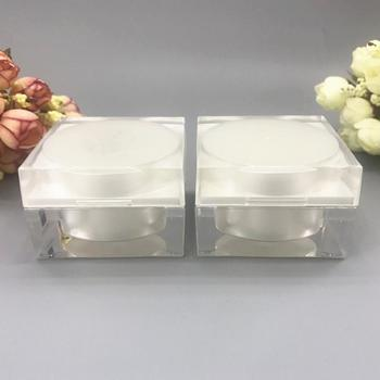 50G pearl white acrylic square  shape jar tin pot bottle for day night cream essence gel moisturizer skin care packing - sale item Skin Care Tool