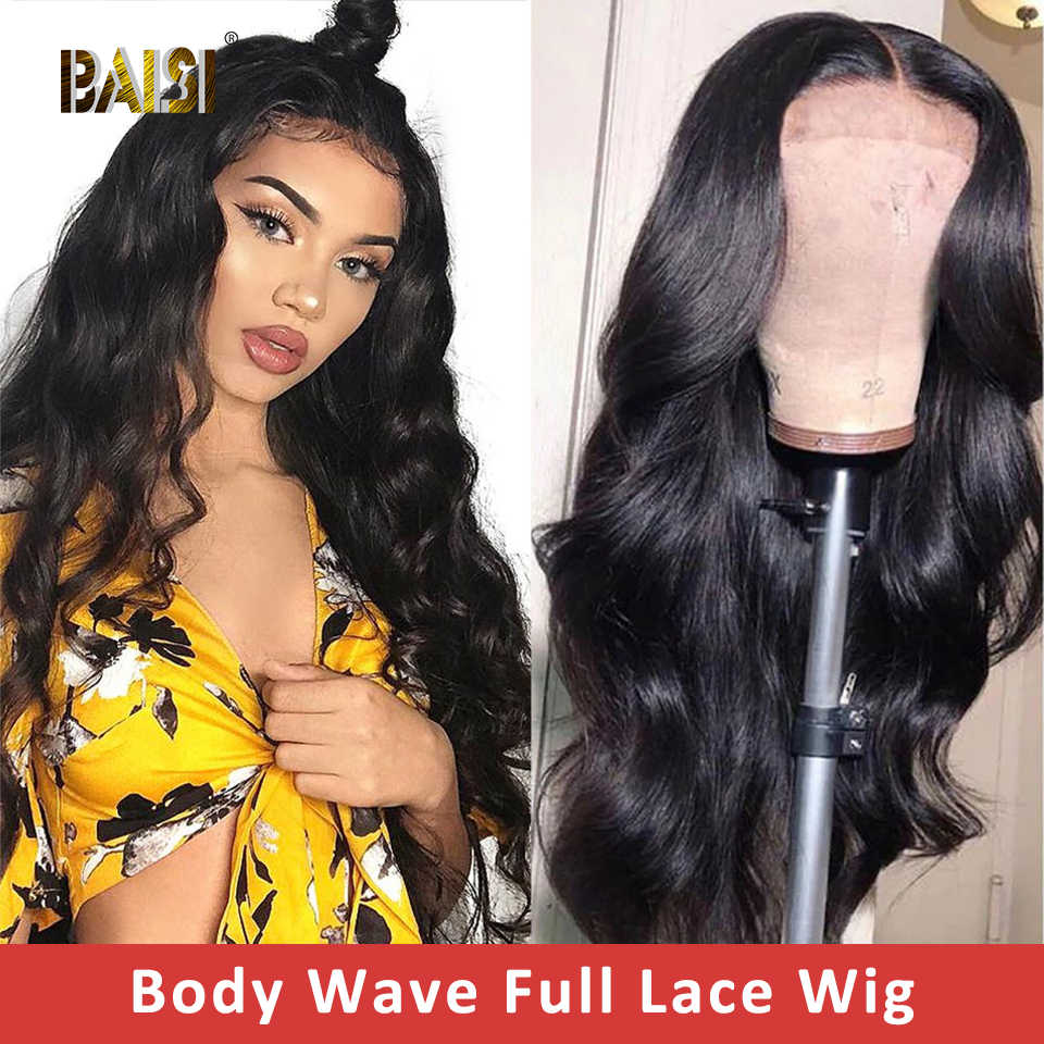 BAISI Full Lace Wig Indian Body Wave Lace Front Human Hair Wigs With Pre-Plucked Hairline Human Hair Wigs For Women