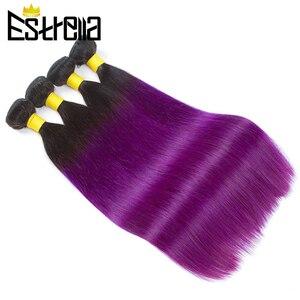 Прямые человеческие волосы Омбре, 3 пряди T1B, фиолетовые, предварительно окрашенные человеческие волосы, Пряди 10