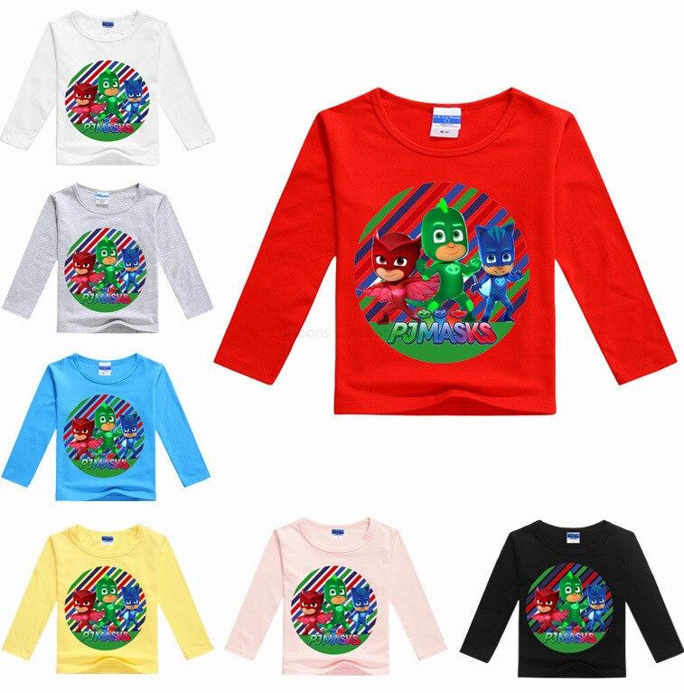 Pj masks crianças meninos multicolorido manga longa camiseta dos desenhos animados das crianças impressão em torno do pescoço manga longa camiseta roupas de moda