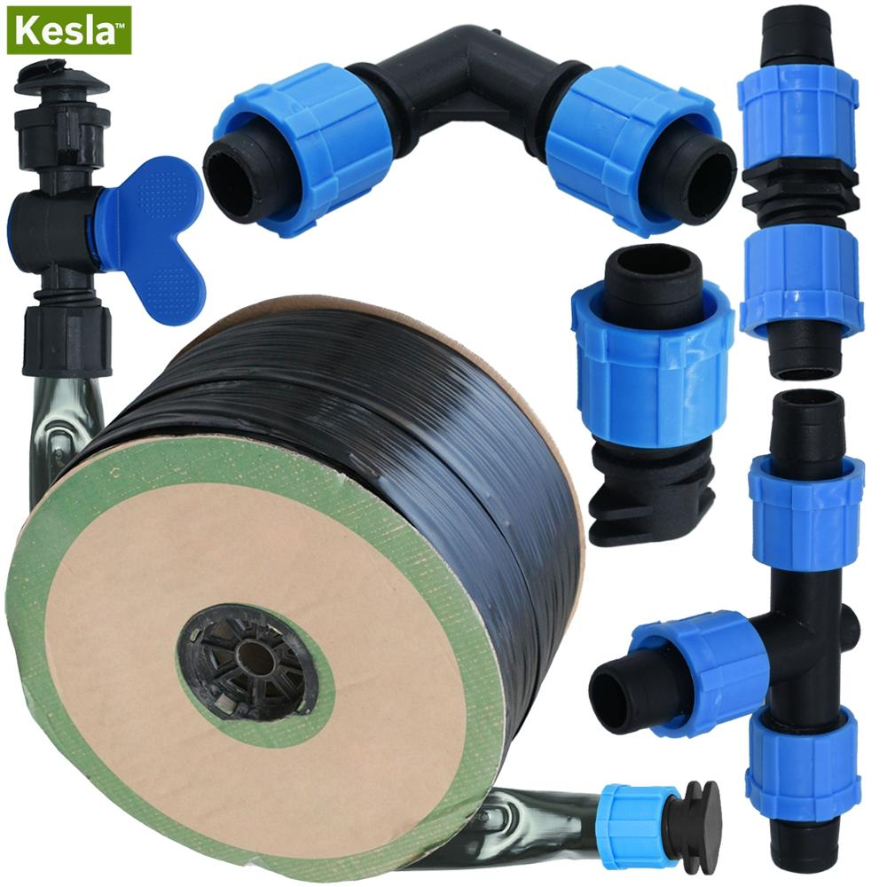 20M-150M 16mm 0.2mm Thickness Drip Irrigation Tape 5/8'' 8mil W/ 20cm Emitter Dripper Spacing Hose Greenhouse Garden Connector