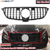 MagicKit For Mercedes Benz GLE W292 Coupe SUV 2015 2018 GTR Style Gloss Black Front Grille Grill