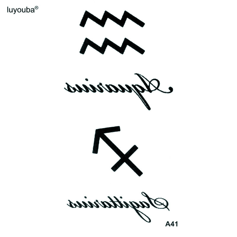 Sagittarius And Aquarius Waterproof Temporary Tattoo Sticker Henna Tatoo Body Sticker Fake Tattoo The Flash Tatoo Tatuajes