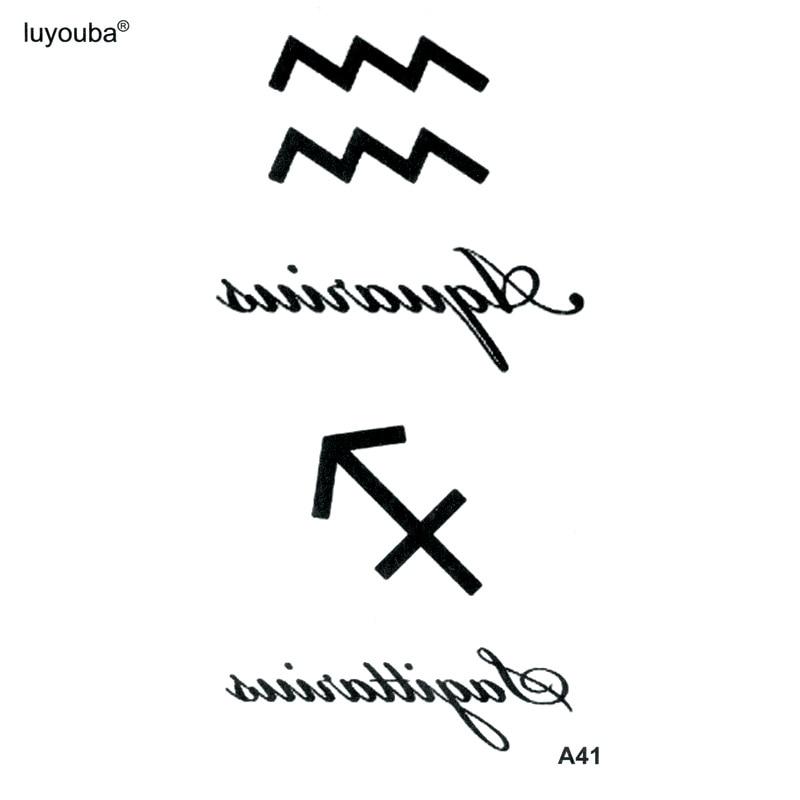 Sagittarius And Aquarius Waterproof Temporary Tattoo Sticker Henna Tatoo Body Sticker Fake Tattoo The Flash Tatoo Tatuajes