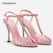 Pink Black Satin Lady Rhinestone T-strap Sandal Crystal Strap Thin Heel Retro Ho