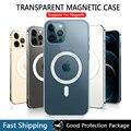 Магнитный чехол для iPhone 12 Pro Max Mini Magsafing, магнитный Прозрачный чехол для iPhone 11 Pro XS Max XR с поддержкой беспроводной зарядки