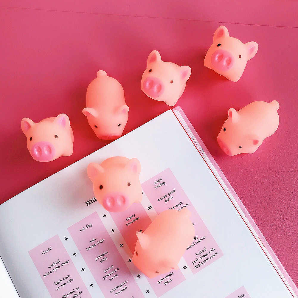 1 Pcs Funny Cartoon Squishy Pink Pig Mochi TPR Squeeze Phone Straps DIY Decor Accessories Fun Joke Toy Gift Antistress Toys