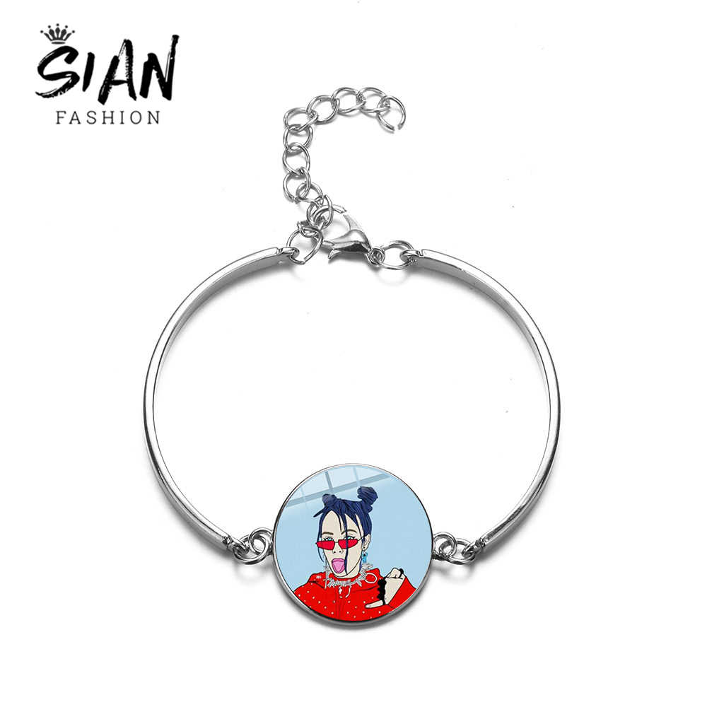 SIAN Hip Hop Singer Billie Eilish Cartoon Bracelet Trendy Harajuku Art Poster Glass Dome Gem Chain Bracelet Fans Favorite Gifts