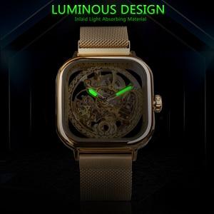 Image 5 - Forsining Men Mechanical Watches Automatic Self Wind Golden Transparent Fashion Mesh Steel Wristwatch Skeleton Man Male Hot Hour