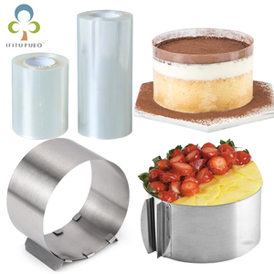Adjustable Mousse Ring Round Mould Mousse Cake Edge Collar Film Kitchen Accessory DIY Baking Tools Cakes Dessert Decoration GYH