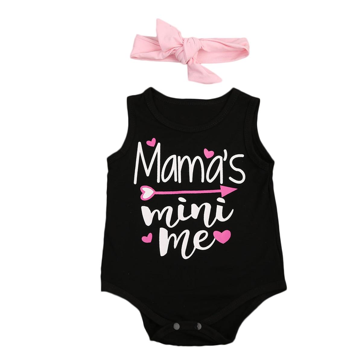 Mamas Mini Me Print Sleeveless Bodysuit With Headband For Baby Girl