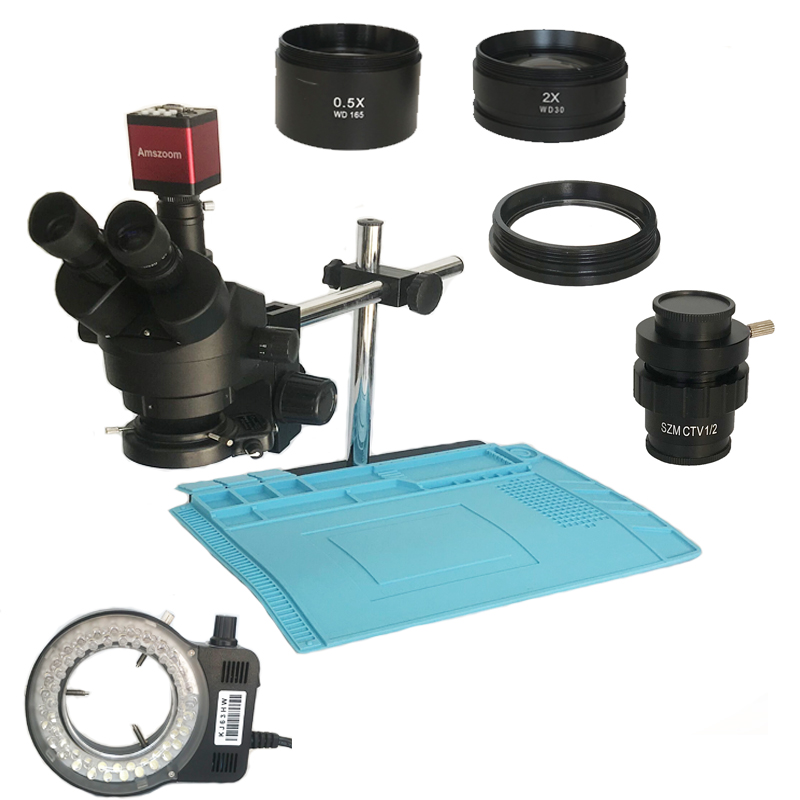 3.5X 7X 45X 90X Microscope stéréo trinoculaire simul-focal 13MP 720P HDMI VGA numérique microscope caméra sac à souder tapis chauffant
